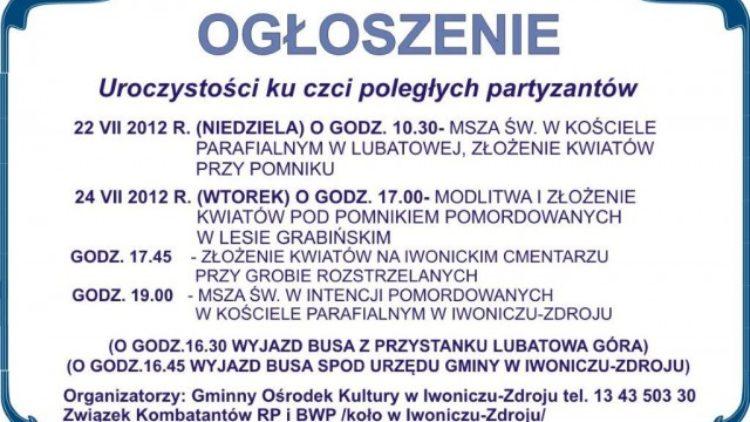 Uroczystości ku czci pomordowanych w Lesie Grabińskim