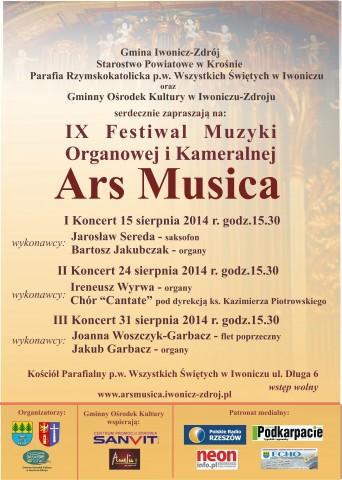 """IX Festiwal Muzyki Organowej   """" Ars Musica """""""