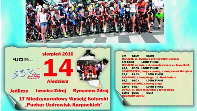 """XVII edycja Międzynarodowego Wyścigu Kolarskiego """"Puchar Uzdrowisk Karpackich""""- 14.08.2016 r."""