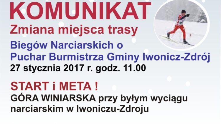 KOMUNIKAT – Zmiana trasy Biegów Narciarskich o Puchar Burmistrza Gminy Iwonicz-Zdrój