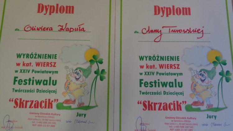 Wyróżnienia na festiwalu Twórczości Dziecięcej SKRZACIK