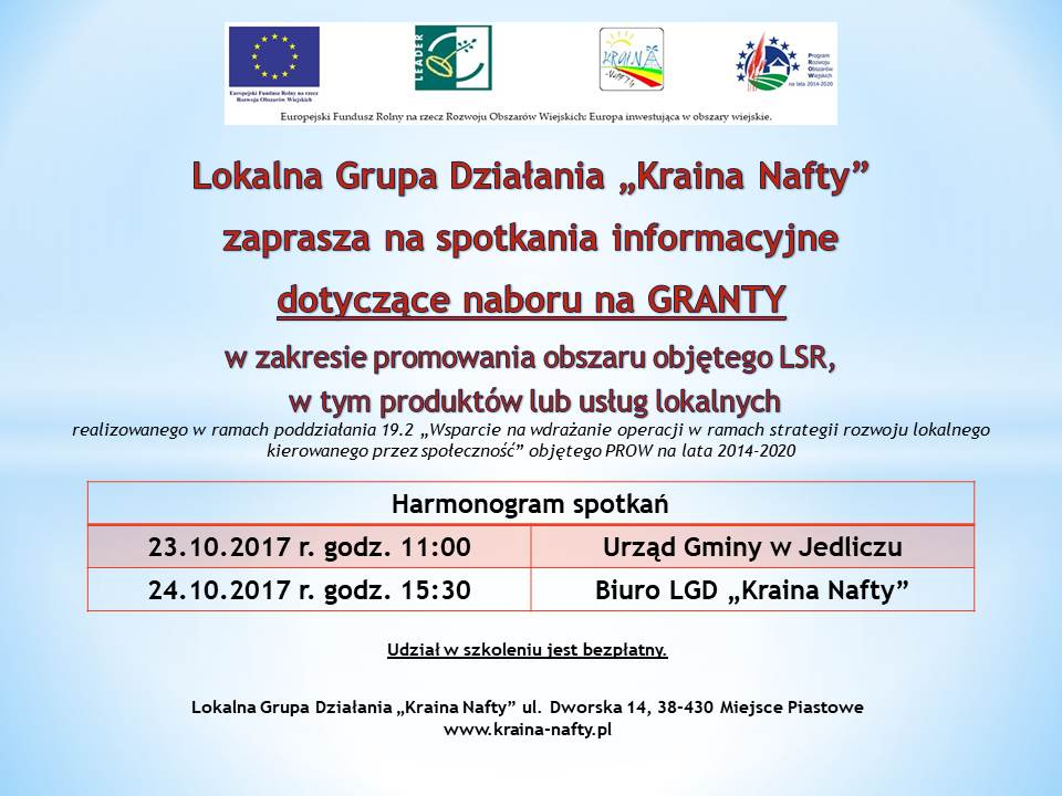 Granty w zakresie promowania obszaru LSR, w tym produktów lub usług lokalnych