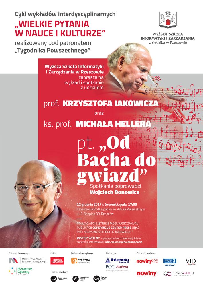 """""""OD BACHA DO GWIAZD"""" – wykład ks. prof. M. Hellera połączony z koncertem prof. K. Jakowicza"""