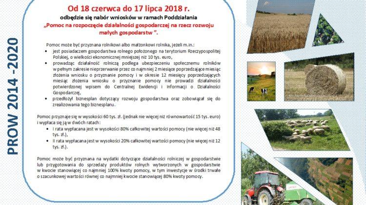 """Ogłoszenie naboru wniosków w ramach Działania """"Restrukturyzacja Małych Gospodarstw""""."""