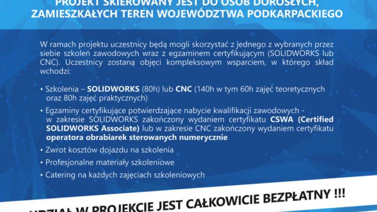 """Nabór do II edycji projektu  """"Innowacyjne Techniki Projektowania  i Wytwarzania w Branży Lotniczej – SOLIDWORKS/CNC"""""""