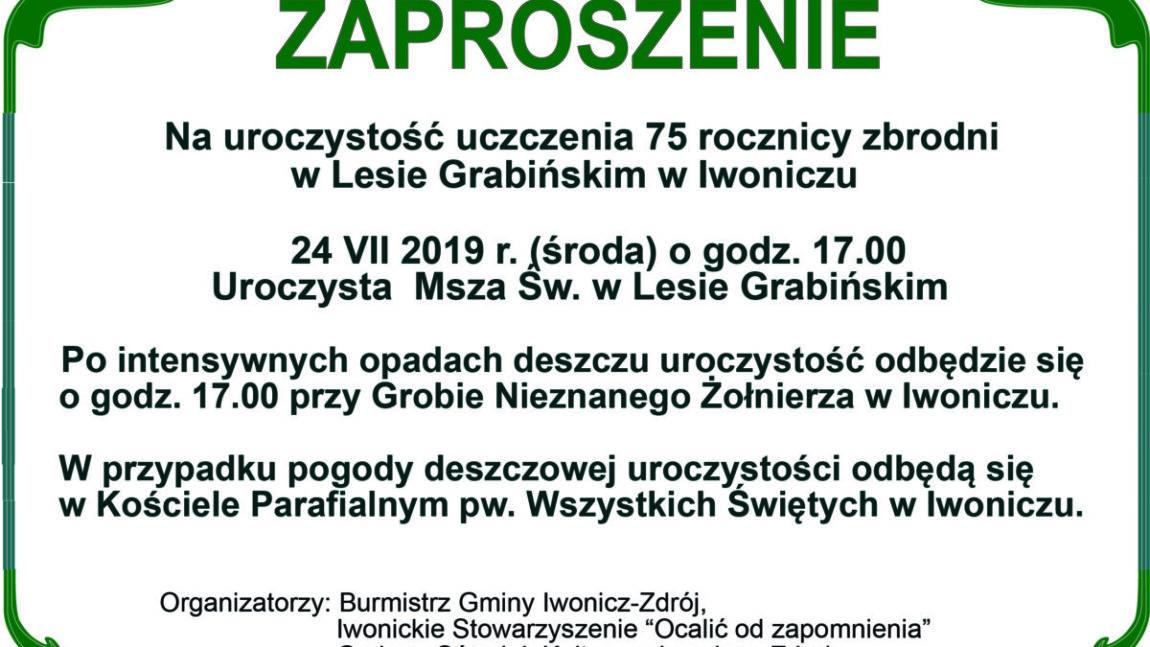Zaproszenie na uroczystość uczczenia 75 rocznicy zbrodni w Lesie Grabińskim