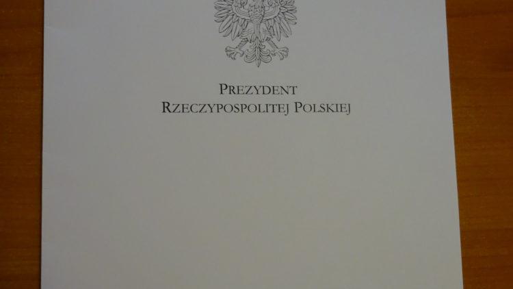 Podziękowanie od Prezydenta Rzeczpospolitej Polskiej dla Przedszkola Gminnego  im. Jana Pawła II w Iwoniczu-Zdroju