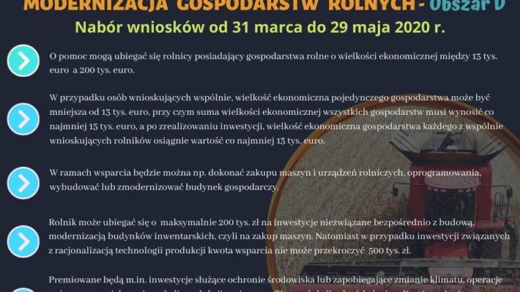 """Nabór wniosków w ramach """"Modernizacji gospodarstw rolnych obszar d"""""""