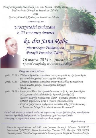 Uroczystości związane z 25 rocznicą śmierci ks. dra Jana Rąba