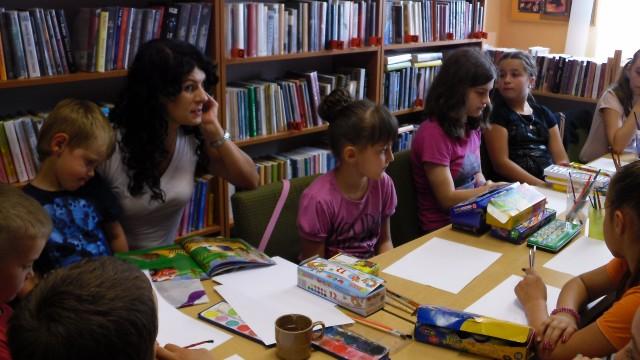 Zajęcia literacko-plastyczne w Bibliotece w Lubatowej.
