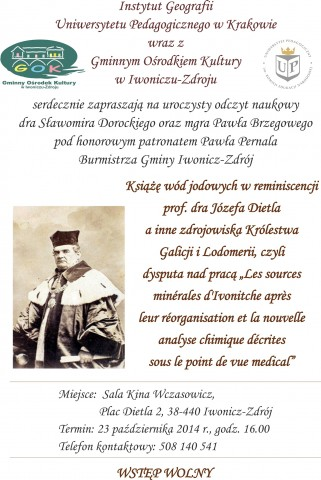 Uroczysty odczyt naukowy o J. Dietlu w Kinie Wczasowicz, w 210 rocznicę urodzin.