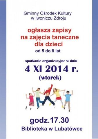 GOK w Iwoniczu-Zdroju ogłasza zapisy na zajęcia taneczne dla dzieci w Lubatówce