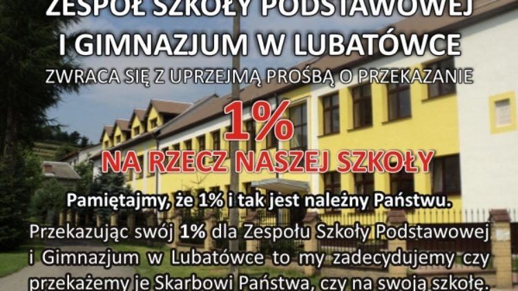 1% podatku na rzecz Zespołu Szkoły Podstawowej i Gimnazjum w Lubatówce…
