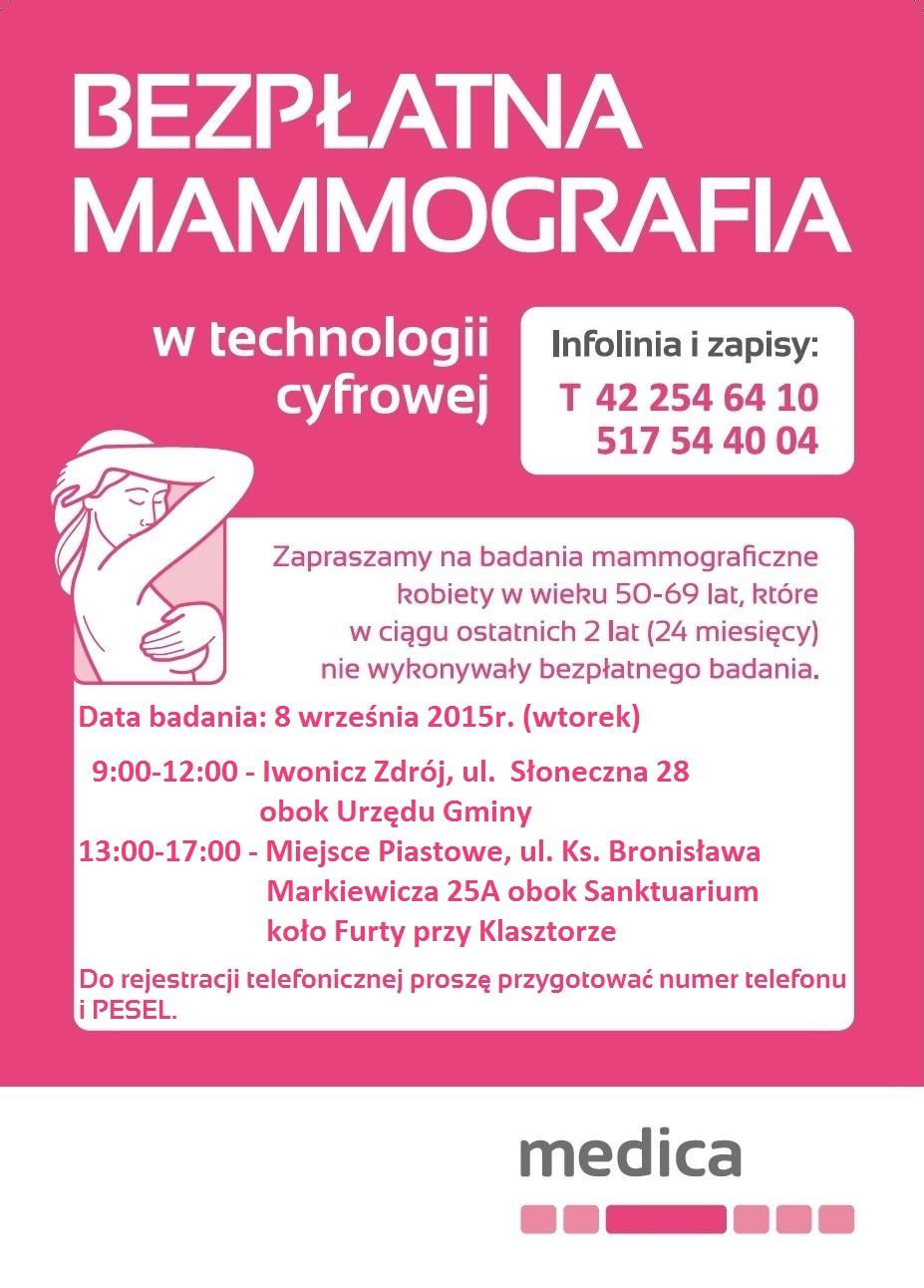 Bezpłatne badania mammograficzne dla kobiet w wieku 50 – 69 lat
