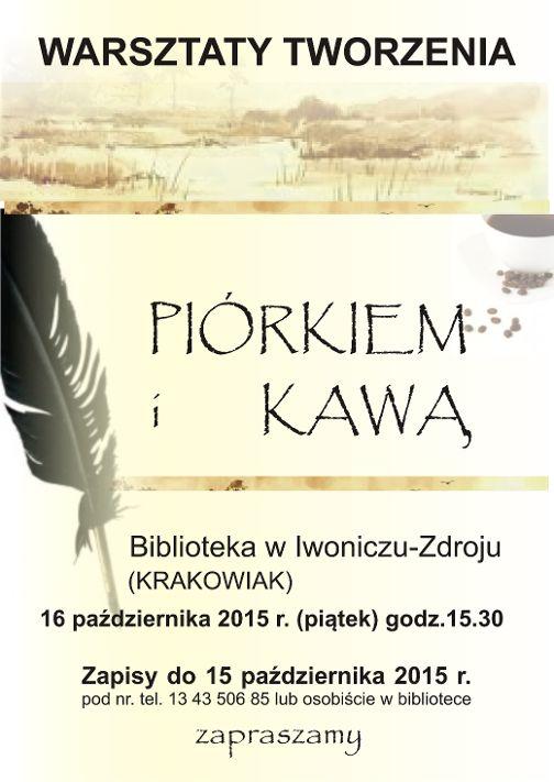 Plakat warsztaty tworzenia piórkiem i kawą