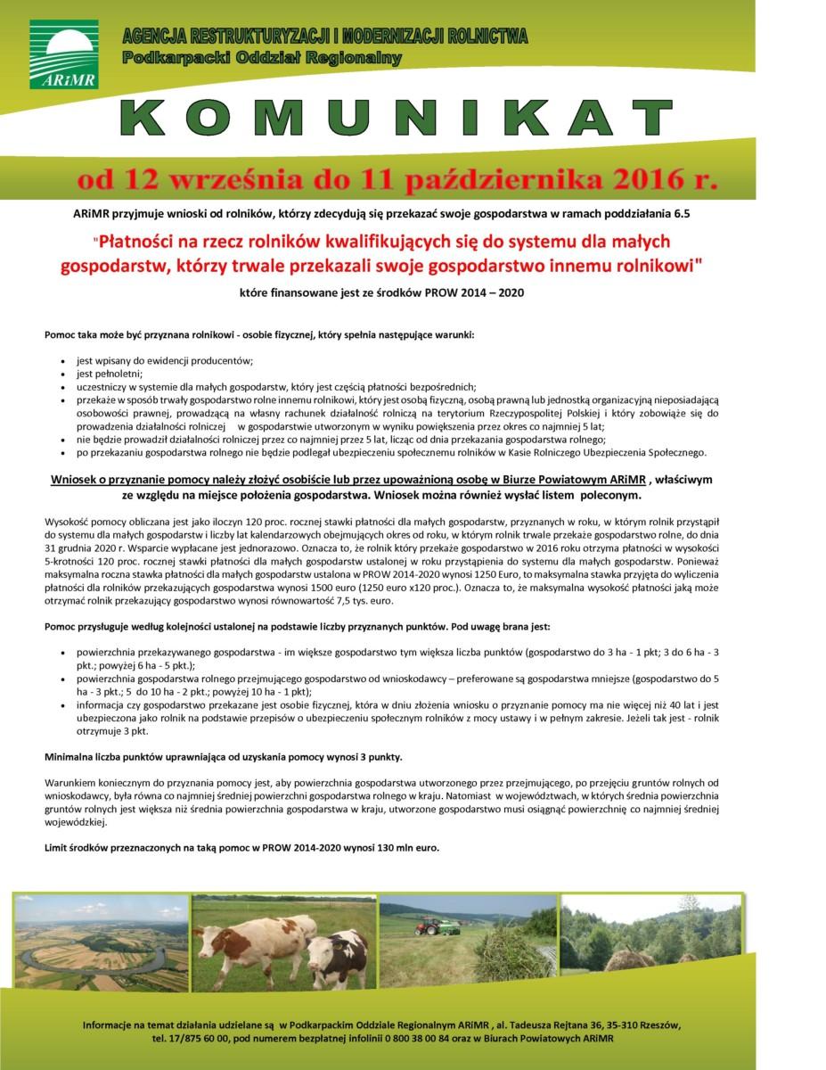 Płatności na rzecz rolników kwalifikujących się do systemu dla małych gospodarstw, którzy trwale przekazali swoje gospodarstwa innemu rolnikowi
