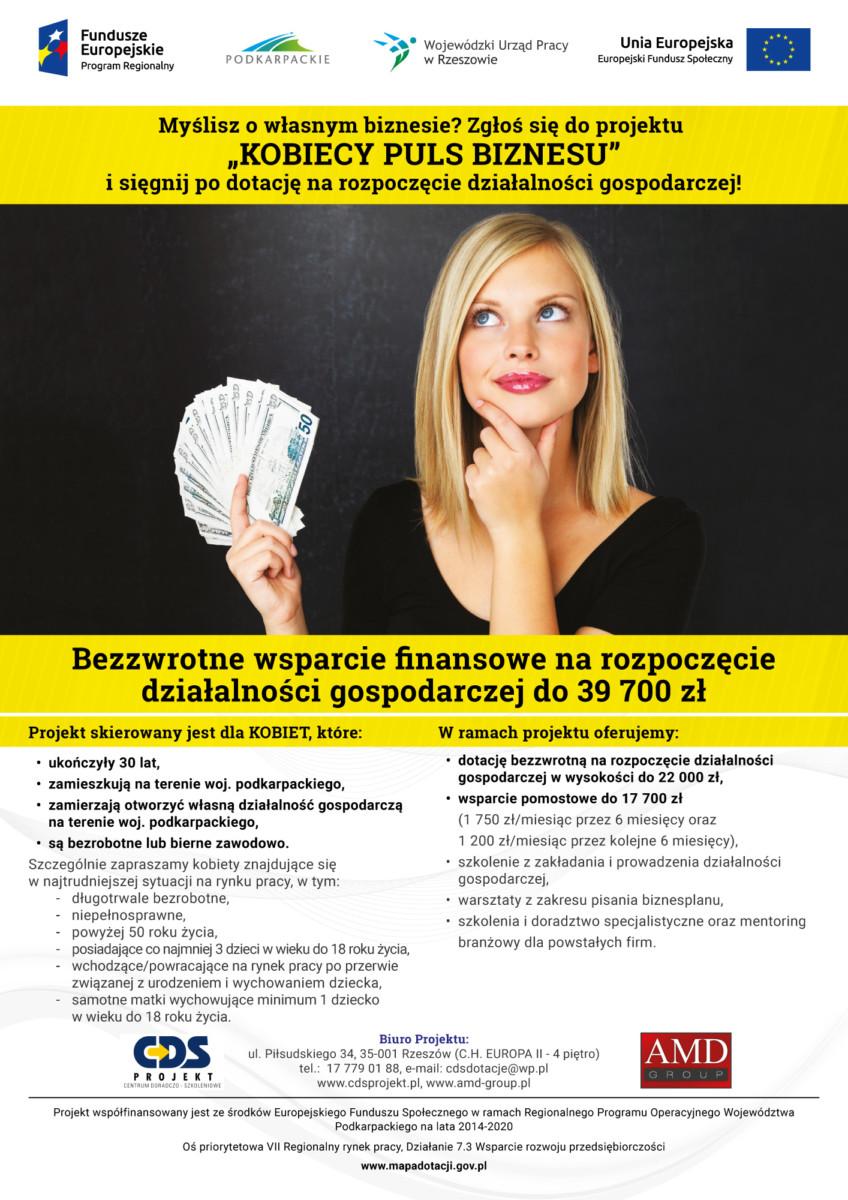 """""""KOBIECY PULS BIZNESU"""" – bezpłatne wsparcie finansowe na rozpoczęcie działalności gospodarczej"""
