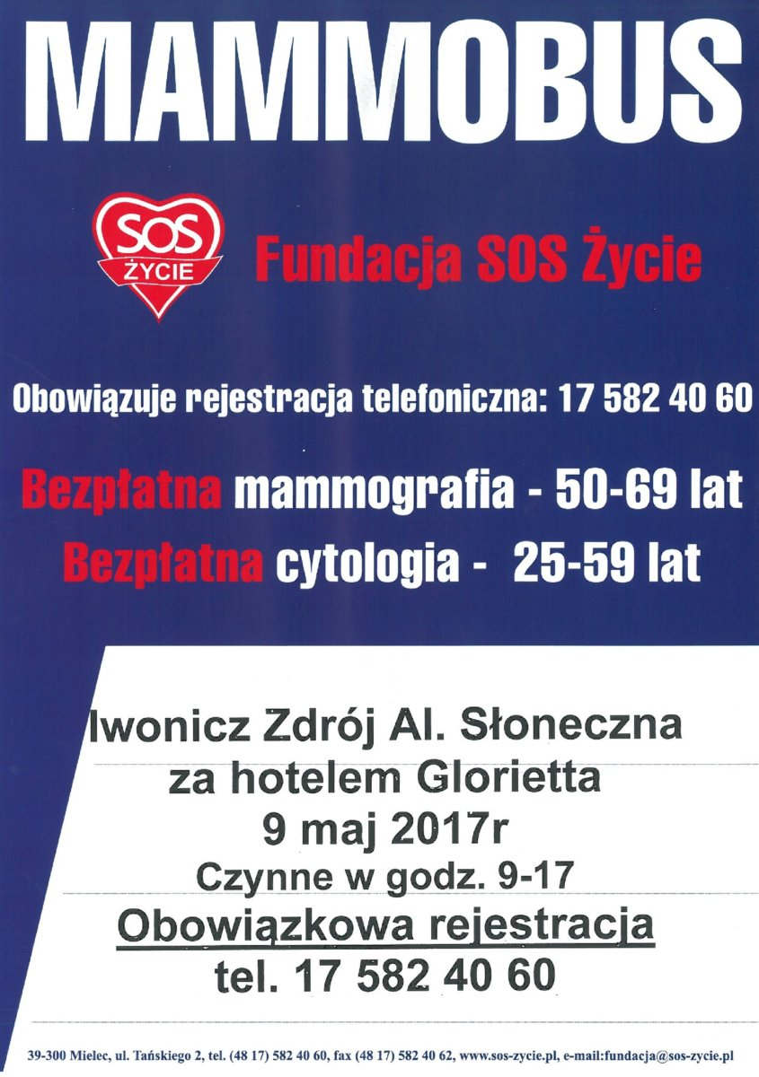 Bezpłatna mammografia i cytologia w Iwoniczu-Zdroju