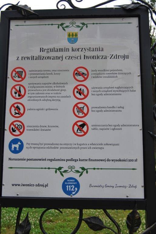 Prośba o przestrzeganie regulaminu korzystania z rewitalizowanej części Iwonicza-Zdroju