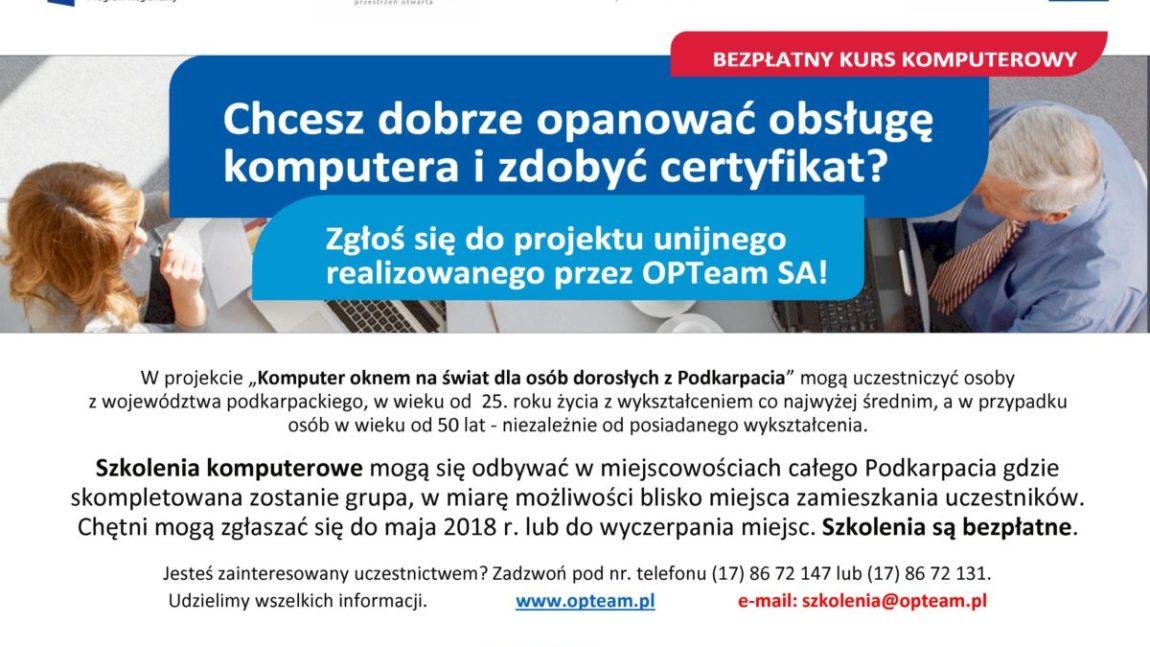 Bezpłatnych szkoleniach komputerowych dla mieszkańców Podkarpacia