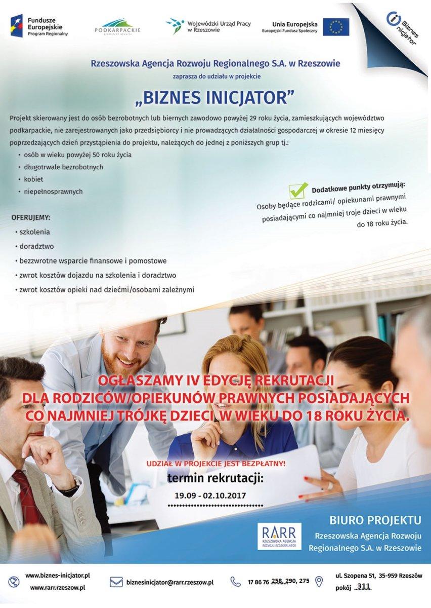 "Rekrutacja do IV edycji  projektu ""Biznes inicjator"""