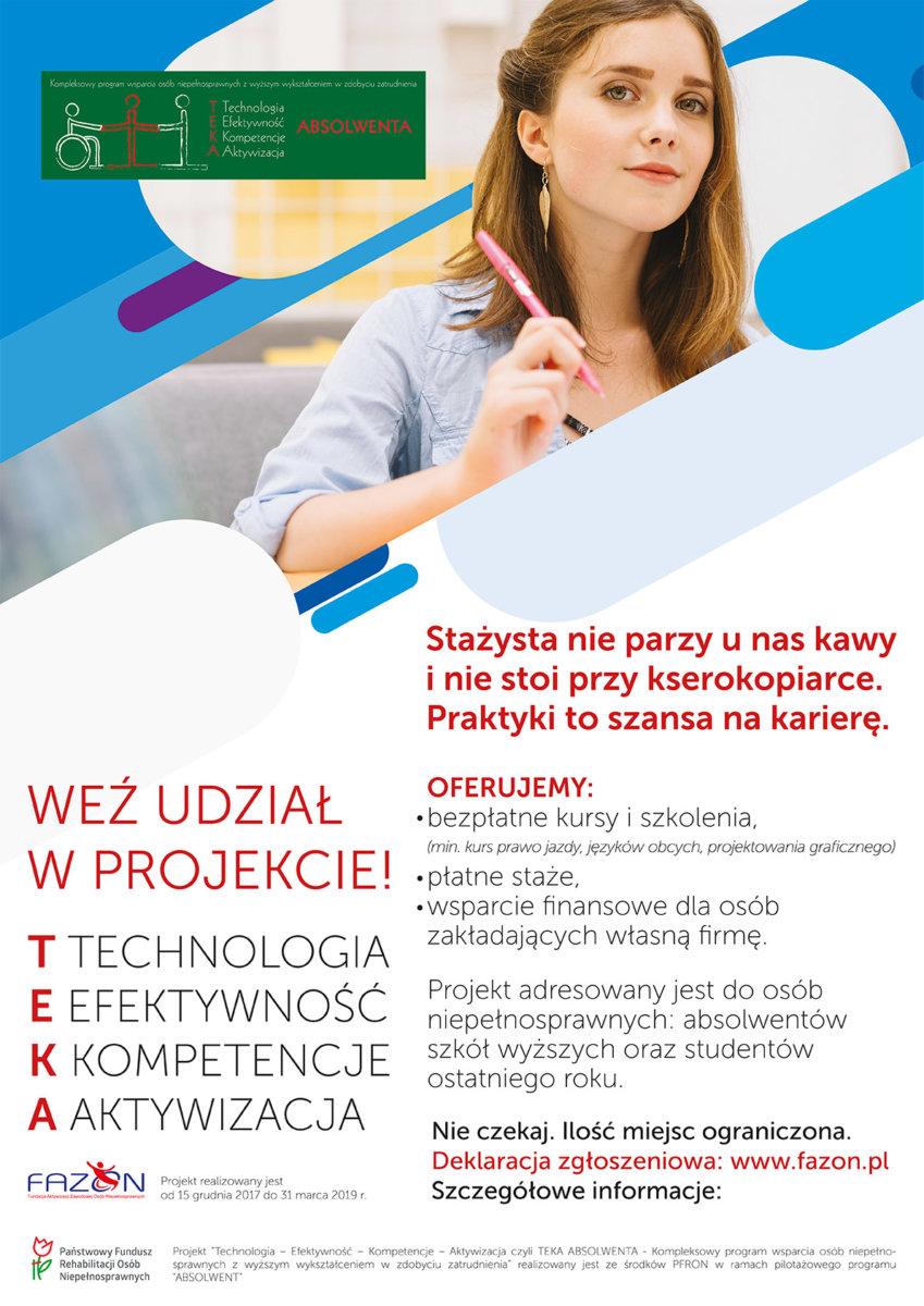 Teka Absolwenta – program wsparcia niepełnosprawnych w zdobyciu zatrudnienia