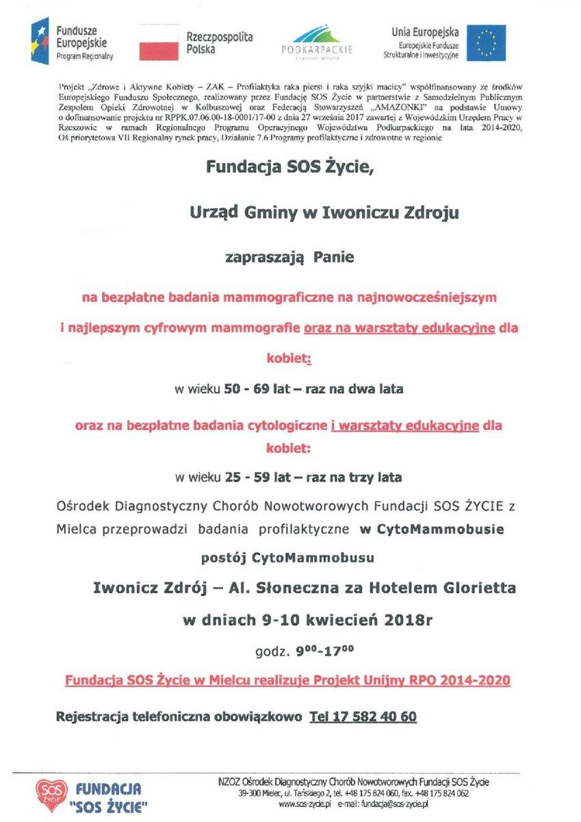 Bezpłatne badania mammograficzne w Iwoniczu-Zdroju