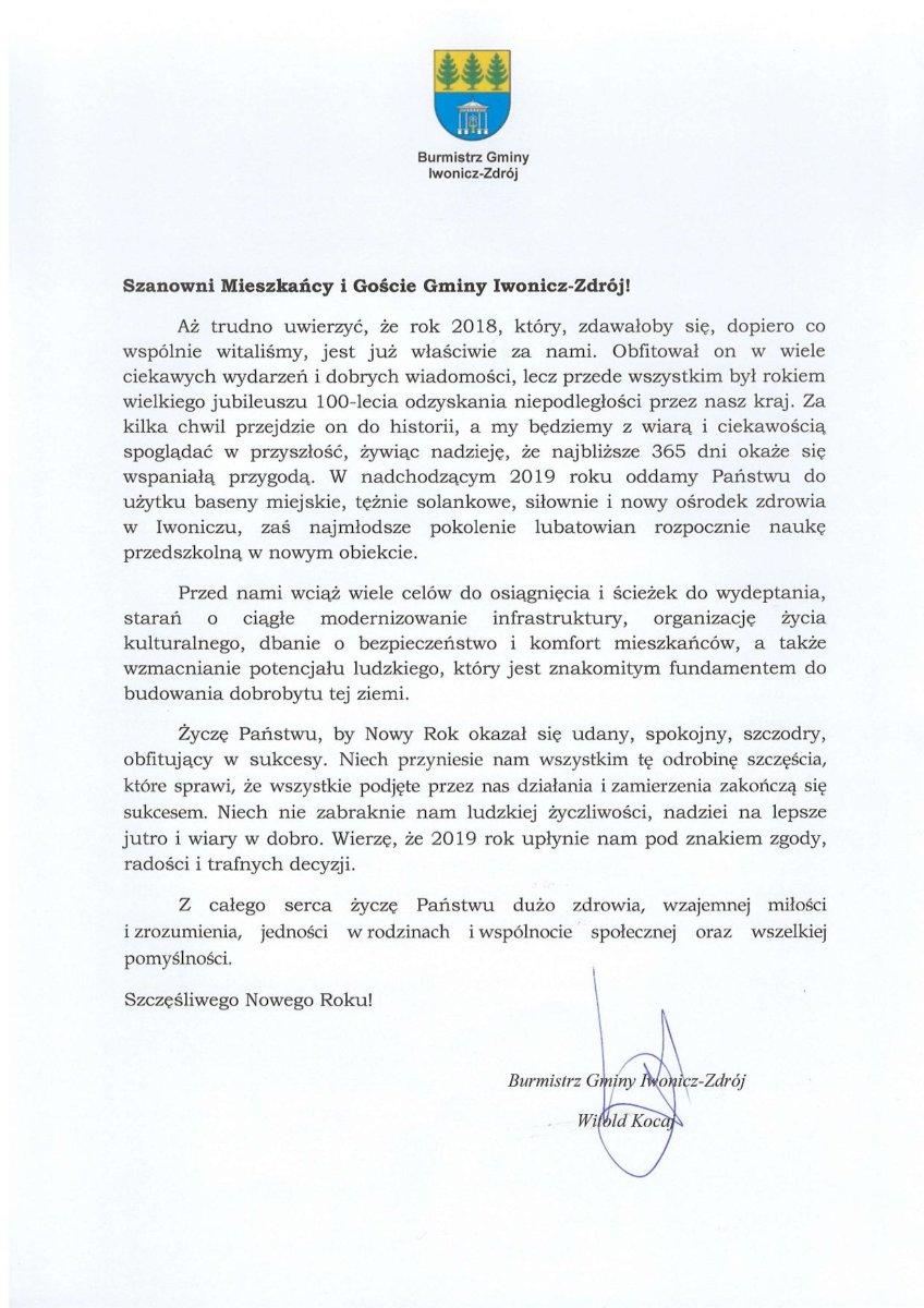 Z optymizmem i nadzieją wkraczamy w Nowy Rok.  Życzenia noworoczne Burmistrza Gminy Iwonicz-Zdrój.