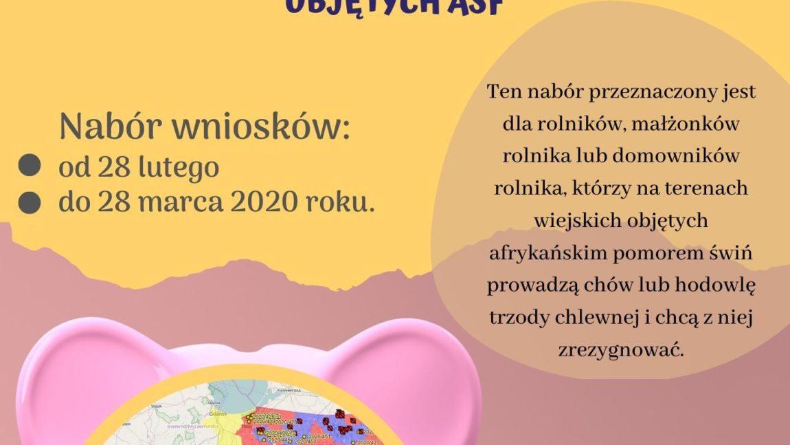 """Nabór wniosków w ramach PROW 2014 – 2020 """"Premia na rozpoczęcie działalności pozarolniczej na terenach wiejskich objętych ASF"""""""