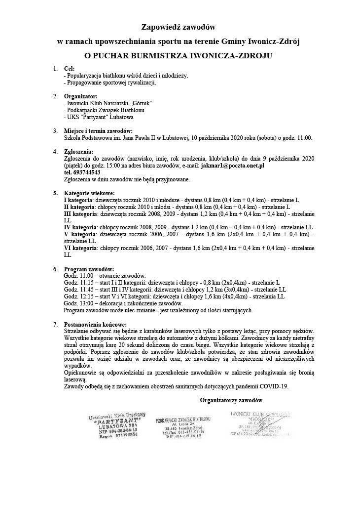 Program zawodów o Puchar Burmistrza Iwonicza-Zdroju