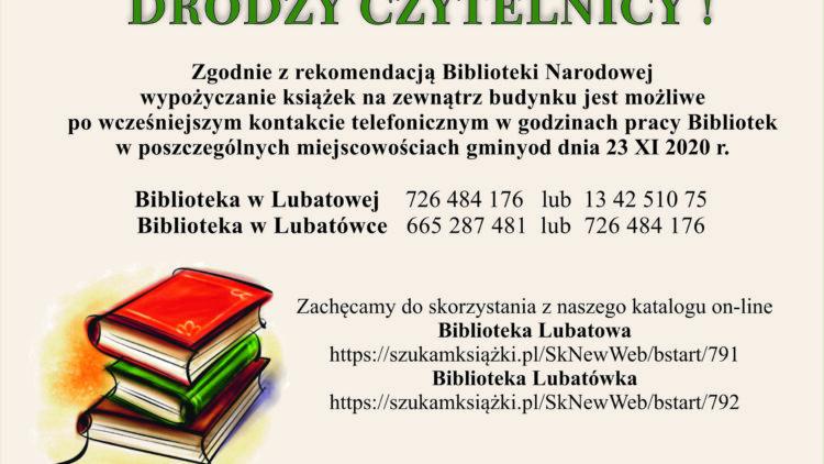 INFORMACJA! Biblioteka Lubatowa oraz Lubatówka