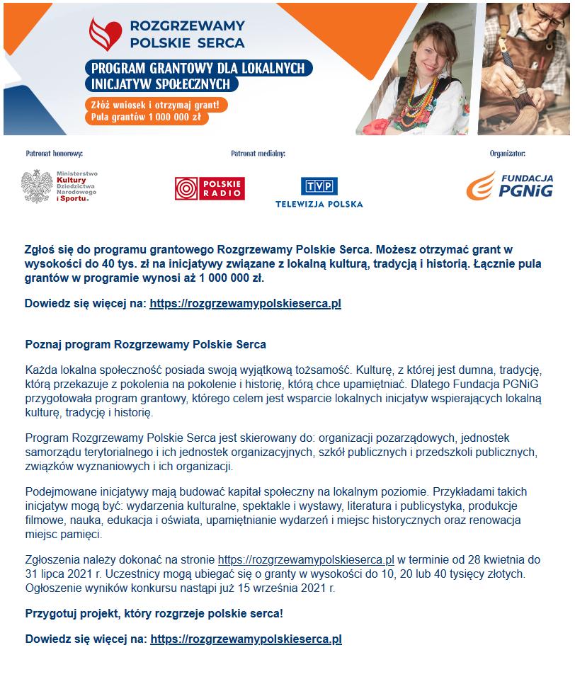 Rozgrzewamy Polskie Serca – Program grantowy dla Lokalnych Inicjatyw Społecznych