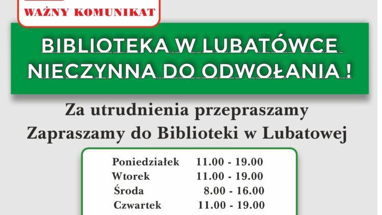 Biblioteka w Lubatówce NIECZYNNA DO ODWOŁANIA !