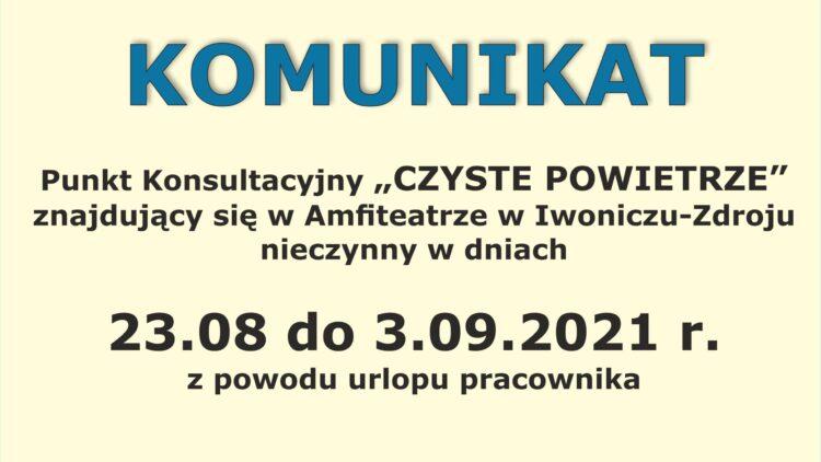 UWAGA ! Informacja dla mieszkańców Gminy Iwonicz-Zdrój