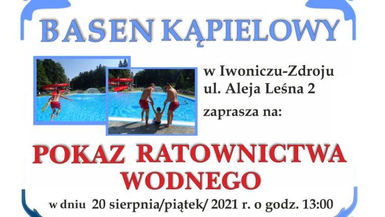 ZAPRASZAMY na Pokaz Ratownictwa Wodnego na basenie kąpielowym w Iwoniczu-Zdroju